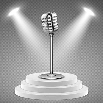 Microfone realista. pódio branco para palco e microfone 3d. equipamento de estúdio de som, concerto ou elemento do vetor de rádio. estúdio de rádio com ilustração de palco e microfone