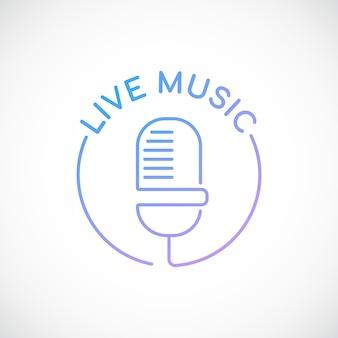 Microfone retro e música de texto ao vivo