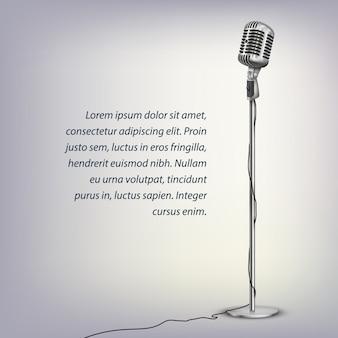 Microfone retrô prateado com cabo no suporte de chão e texto em cinza iluminado