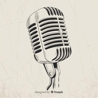 Microfone retrô realista de mão desenhada