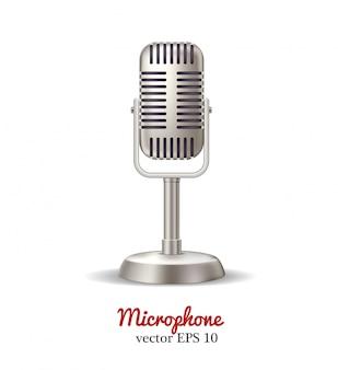 Microfone retrô, transmissão de rádio de karaokê