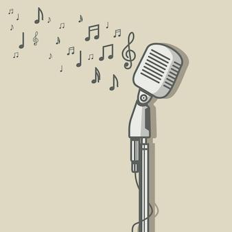 Microfone vintage com ilustração vetorial de símbolo de nota musical
