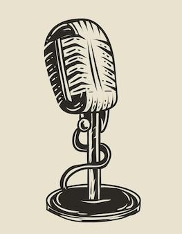 Microfone vintage de ilustração