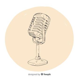 Microfone vintage desenhado mão realista
