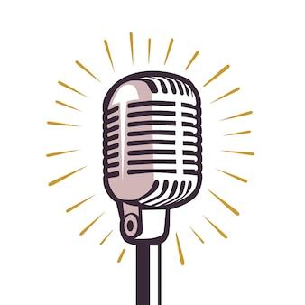 Microfone vintage desenhado na cabeça