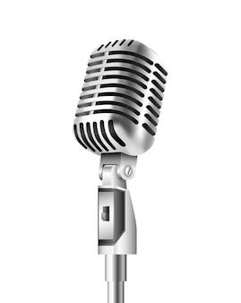 Microfone vintage em fundo branco