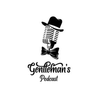 Microfone vintage extravagante chapéu e gravata borboleta cavalheiro design de logotipo de podcast vetor