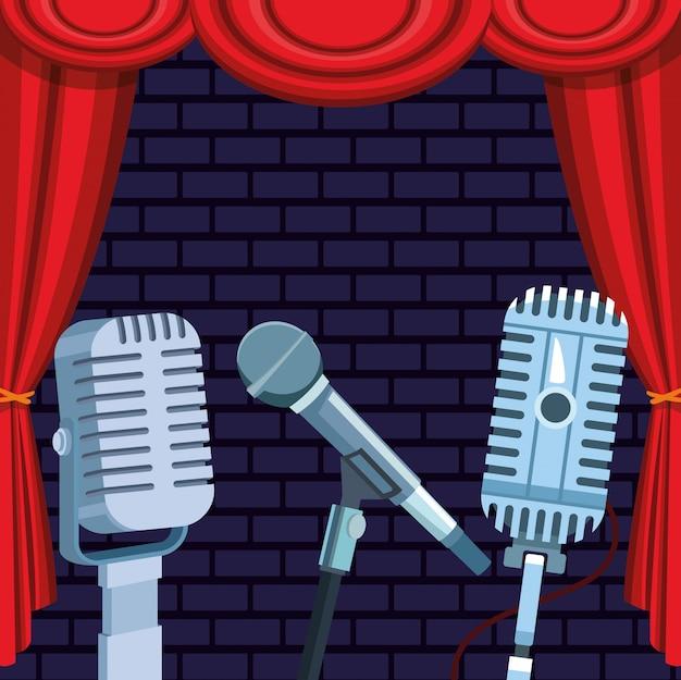 Microfones cortina palco de pé comédia show