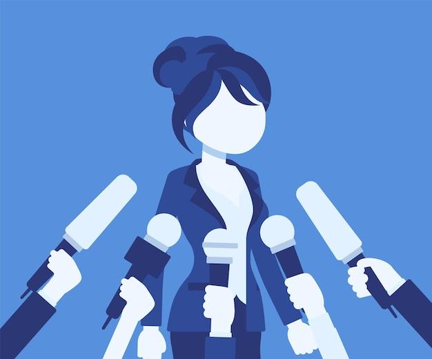 Microfones de entrevista de tv, transmitindo discurso feminino. jovem popular registrando opinião, negócios, celebridade política dando comentários para notícias. ilustração vetorial, personagem sem rosto
