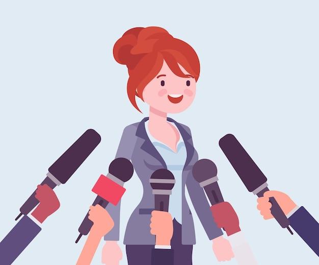 Microfones de entrevista de tv, transmitindo discurso feminino