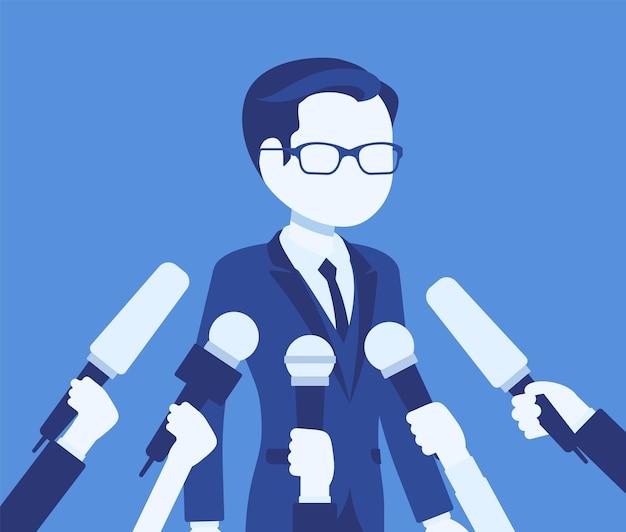 Microfones de entrevista de tv, transmitindo discurso masculino. jovem popular registrando opiniões, negócios, celebridades políticas, comentários para notícias, reportagens. ilustração vetorial, personagem sem rosto