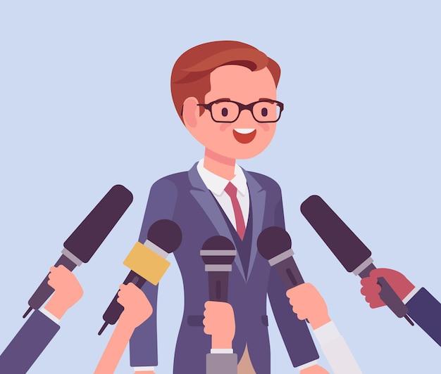 Microfones de entrevista de tv, transmitindo discurso masculino