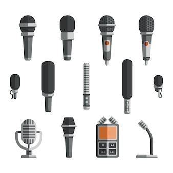 Microfones e ícones plana de vetor de ditafone