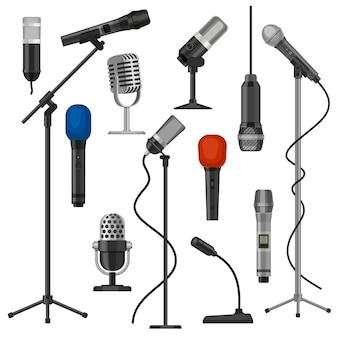 Microfones em suportes. microfone cantor com fio para performance de palco. equipamento de gravação de áudio de estúdio de música. conjunto de vetores de microfone de rádio dos desenhos animados. microfone de ilustração para transmissão e entretenimento Vetor Premium