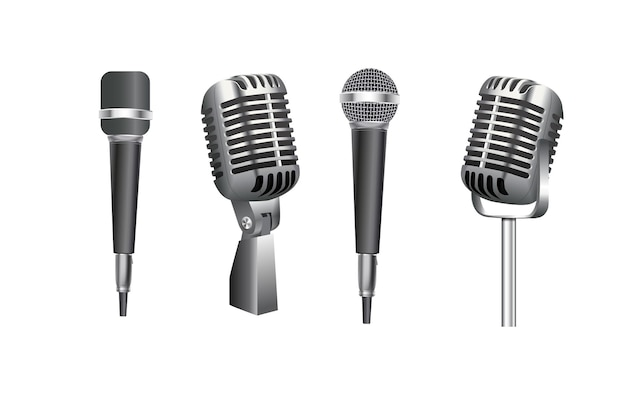 Microfones estúdio de música diversos equipamentos microfone vetor fotos realistas de vintage ...