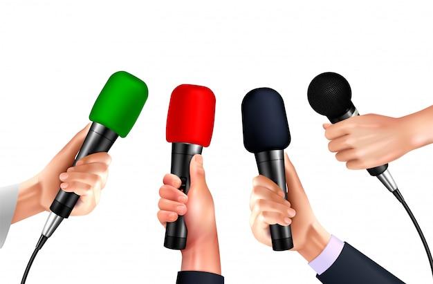 Microfones profissionais em imagens realistas de mãos humanas em fundo branco com diferentes modelos de microfone moderno