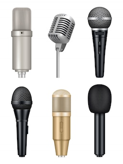 Microfones realistas. equipamento profissional de estúdio de música multimédia imagens de mic de som metálico