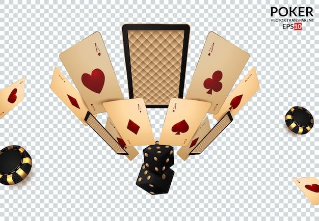 Microplaquetas de pôquer dos elementos do projeto do casino, cartões de jogo e excrementos.