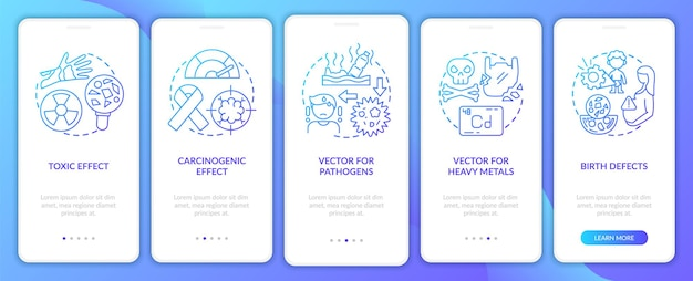 Microplastics health effects onboarding mobile app page screen with concepts