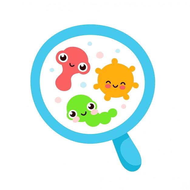 Microrganismo bacteriano em um círculo. conjunto colorido de bactérias e germes, microorganismos, bactérias, vírus, fungos, protozoários sob o vidro rejuvenescedor, lupa
