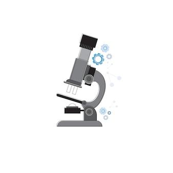 Microscópio ciência equipamentos tecnologia ícone linha fina ilustração vetorial