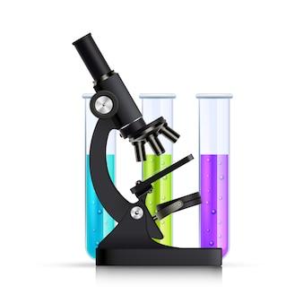 Microscópio com ilustração realista de tubos de ensaio