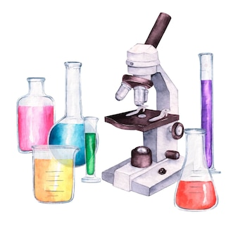 Microscópio em aquarela e recipientes de vidro
