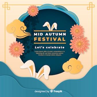 Mid festival outono composição com estilo de papel