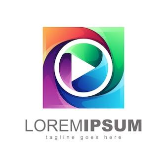 Mídia colorida logo design vector
