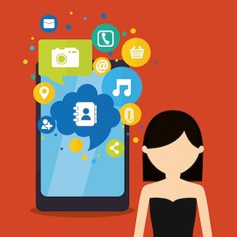 Mídia de app de mensagem de telefone móvel de mulher