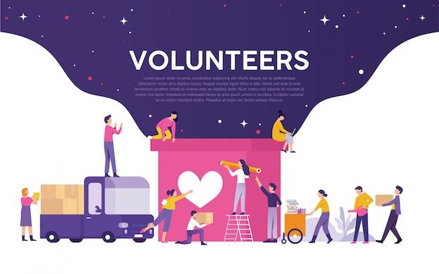 Mídia de ilustração de voluntariado