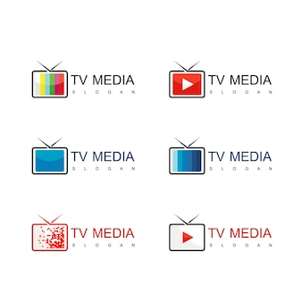Mídia e tv logo design vector