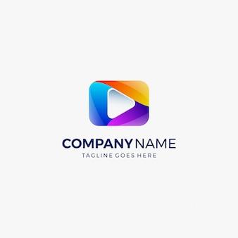 Mídia jogar botão vídeo logotipo modelo de design
