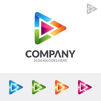 Mídia jogar logotipo colorido