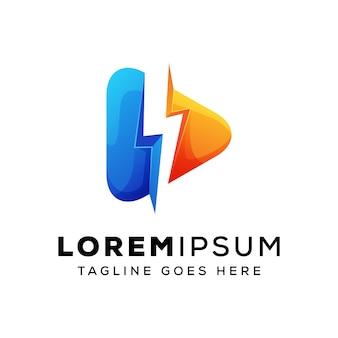 Mídia rápida, logotipo de mídia de energia