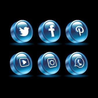 Mídia social 3d cor azul