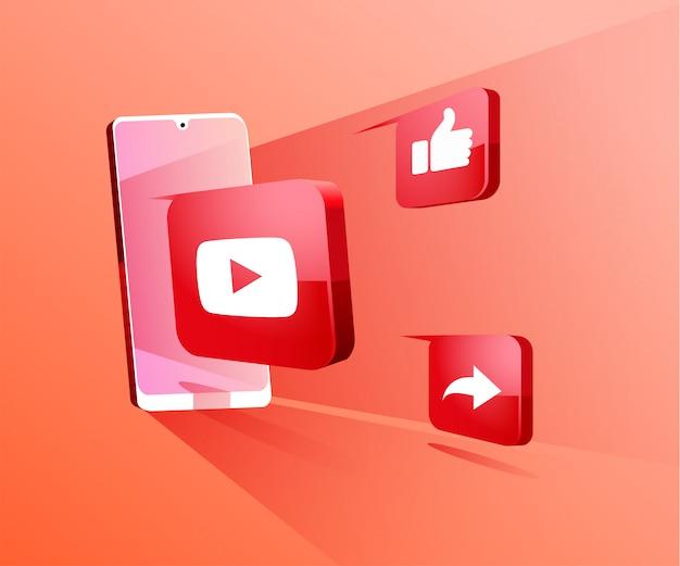 Mídia social 3d do youtube com ilustração do símbolo do smartphone