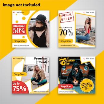Mídia social amarela post moda desconto venda banner