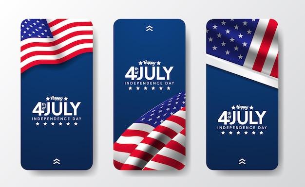 Mídia social bandeira americana para a independência da américa eua, dia 4 de julho