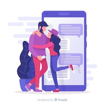 Mídia social com o conceito de namoro app