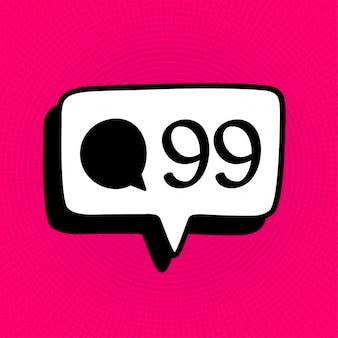 Mídia social comentário ícone de sinal de notificação no estilo cômico