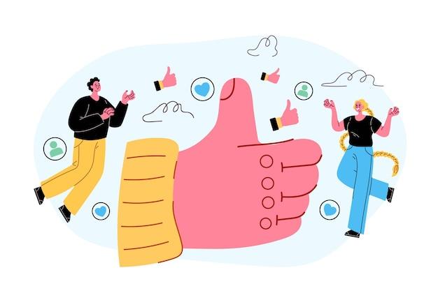 Mídia social como botão polegar para cima conceito ilustração em vetor estilo moderno isolado