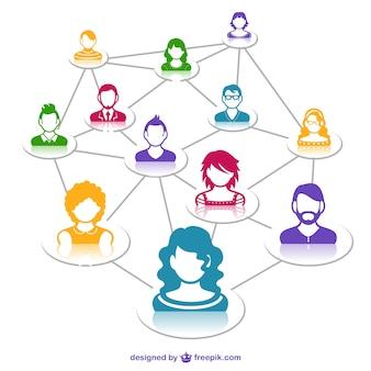 Mídia social conceito de rede vetorial