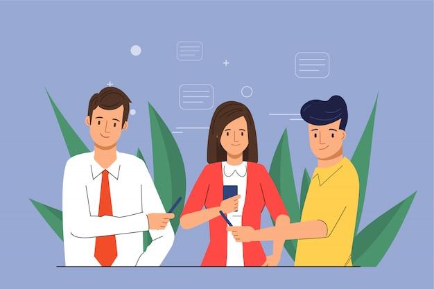 Mídia social conversando em grupo para pessoas em smartphone.
