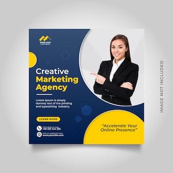 Mídia social corporativa de marketing digital e modelo de postagem no instagram