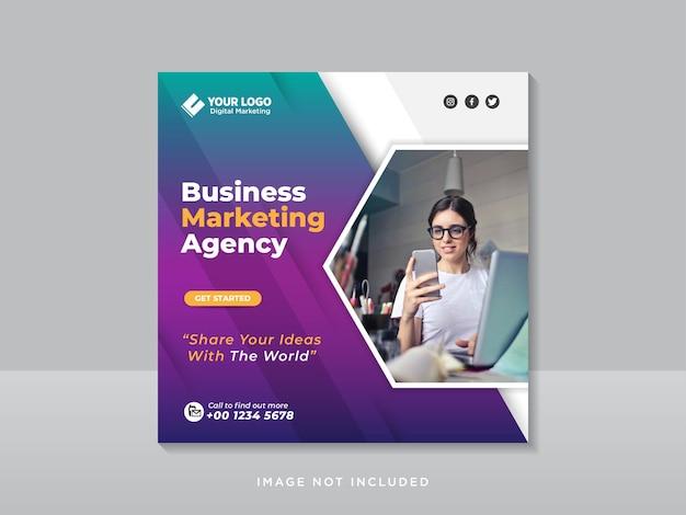 Mídia social corporativa de marketing digital e post templat do instagram