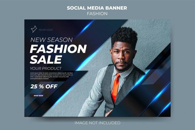 Mídia social da moda azul escuro moderno postar modelo de banner de venda