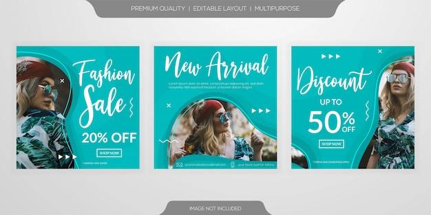 Mídia social da web de venda de moda postar conjunto de modelo de anúncios