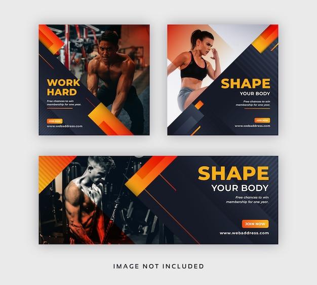 Mídia social de academia e fitness postar banner na web e capa do facebook