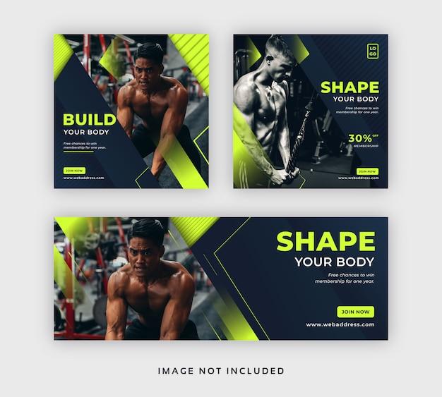 Mídia social de academia e fitness postar banner web & modelo de capa para facebook